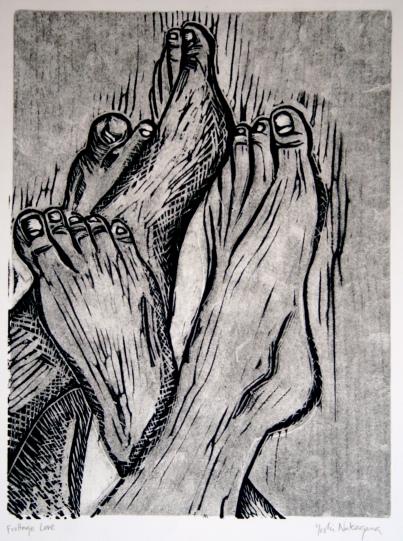 Frottage Love Linocut 12in x 9in 2007