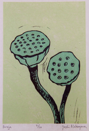 Pareja Reductive Linocut 6in x 4in 2012 edition size: 10