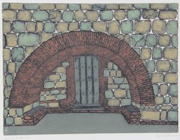 Arco de Xochimilco Monoprint 9in x 12in 2012