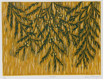 Hinoki Reductive Woodcut 9in x 12in 2007 edition size: 8