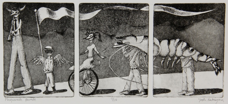 Masquerade Parade Etching 6in x 13.75in 2008 edition size: 15