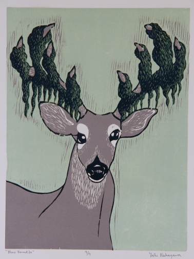 """Pobre Venadito"" Reductive Woodcut 12in x 18in 2013 edition size: 9"
