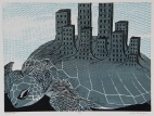 The Burden Reductive Woodcut 12in x 16in 2014 edition size: 9