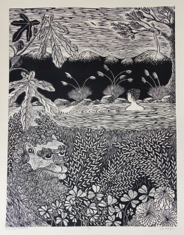 In the Garden of Mindfulness Woodcut 32.5in x 24.5in 2015 edition size: 11