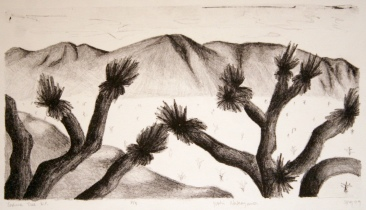 Joshua Tree N.P. Lithograph 6.5in x 12in 1999 edition size: 5