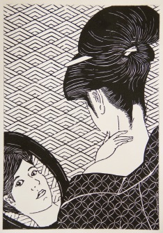 A Study of Utamaro Woodcut 15.25in x 10.5in 2016 Edition size: 20