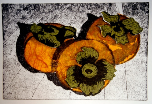 The Persimmon Series Etching w/ Chin Colle 6in x 9in 2008